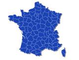 carte France bleue départements contour blanc avec ombre