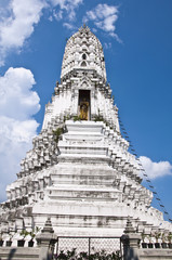 White Pagoda in temple with blue sky