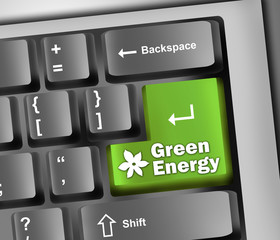 """Keyboard Illustration with """"Green Energy"""" Button"""