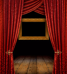 red curtains and gold frame