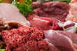 assorted raw meats background