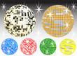 Sechs farbige Diskokugeln mit schwarzem Hintergrund