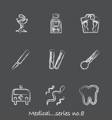 Medical chalkboard icons...series no.8