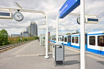 Metro at Spaklerweg station in Amsterdam the Netherlands