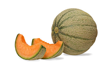 melon and two segments isolated on white background