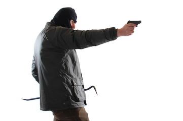 Bewaffneter Einbrecher. Freigestelltes Bild.