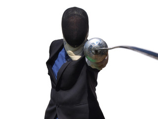 Businessman parrying fencing foil