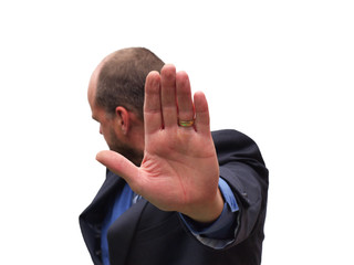 businessman talk to the hand