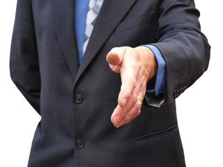 Senior partner hand shake