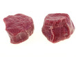 raw beef tenderloin steaks isolated on white background