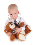 Child Pretending to be a Doctor With his Teddy Bear poster