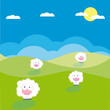 Sheeps on the field vector illustration cartoon