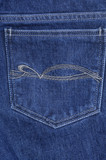 The big hip-pocket of blue shabby jeans with a pattern poster