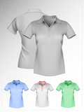 Vector. Women's polo shirt template. Front and back