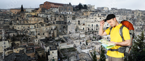 man and matera panoramic  view