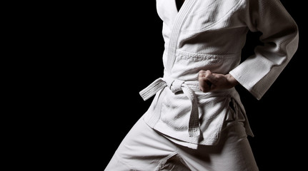 Karateka isolated on black