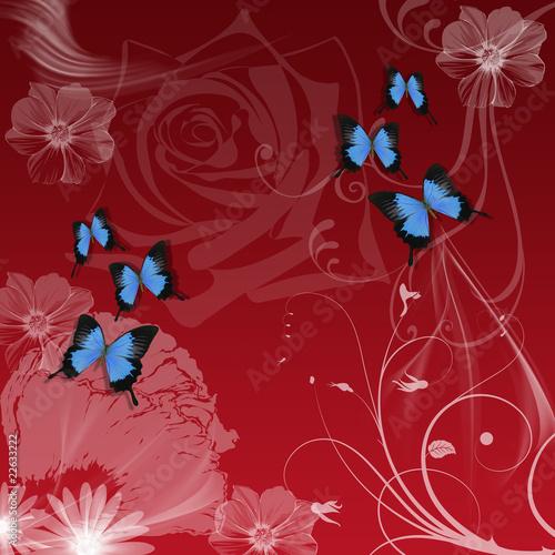Papiers peints Papillons dans Grunge Blütentraum