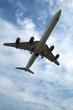 passenger jet on takeoff or landing against blue sky