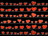 red and rose sketchy vector hearts lined on a black background poster