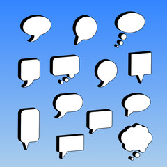 Thought and speech bubbles set