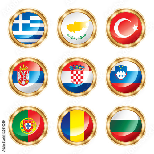 Flag buttons European four. Vector, each in separated layer