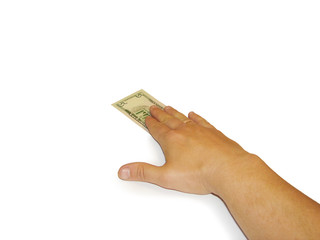 The hand that giving banknote