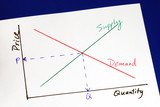 Supply and demand curves isolated on blue poster