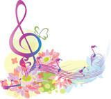 Summer music with decorative treble clef