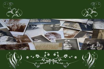 Alte Fotos und Blumenornamente mit Platz für Text