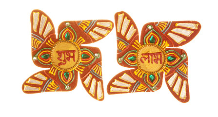 "Sacred Hindu symbol Swastika with "" Shubh Labh"" inscribed"