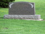 Blank headstone in cemetery poster