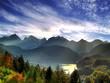 Fototapeten,sonnenuntergang,see,alpen,sonne