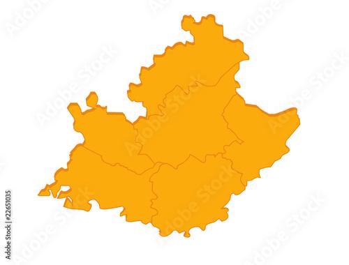 """""""carte """"paca"""" région France orange en relief vierge ou vide"""" fichier vectoriel libre de droits ..."""