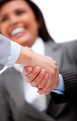 Smiling businesswoman looking at her partners shaking hands