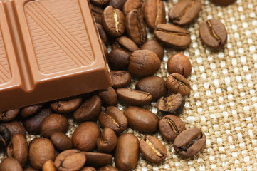 Fragrant coffee in a combination to chocolate