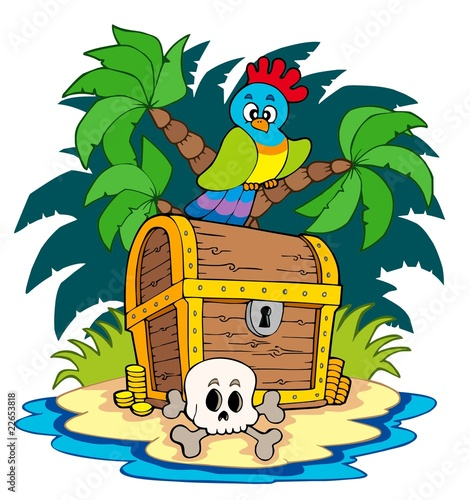 Deurstickers Piraten Pirate island with treasure chest
