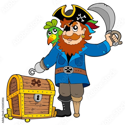 Deurstickers Piraten Pirate with old treasure chest