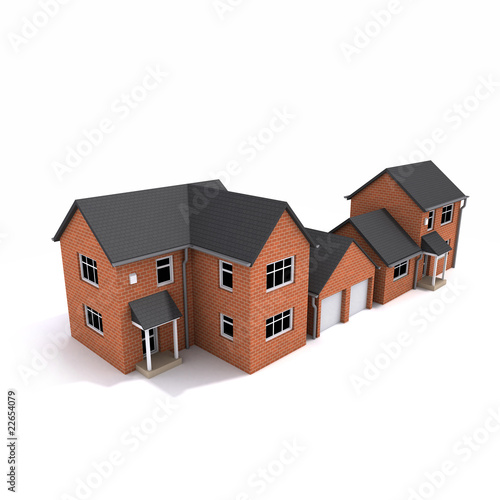 3d Red brick houses