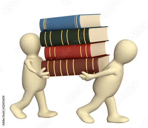 3d puppets with books - over white Stock Photo.