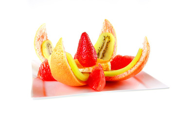 tropical fruits on plate