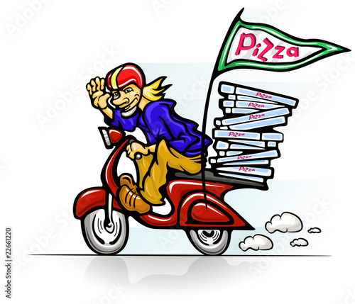 boy delivering pizza on scooter