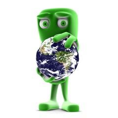 personnage vert terre écologique