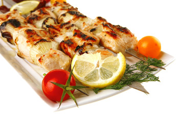 shish kebab with vegetables
