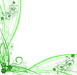 illustration florale verte