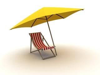 Sonnenschirm und Liege