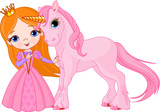 Fototapety Beautiful princess and unicorn