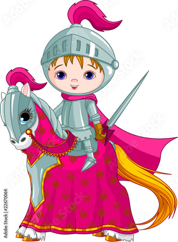 Spoed canvasdoek 2cm dik Superheroes The Brave Knight on the horse