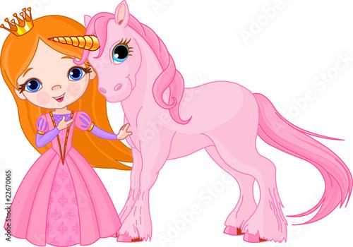 Poster Pony Beautiful princess and unicorn