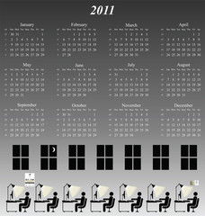 2011 calendar with an office working late theme