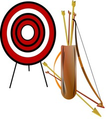 longbow archery set with quiver of 3d arrows on white